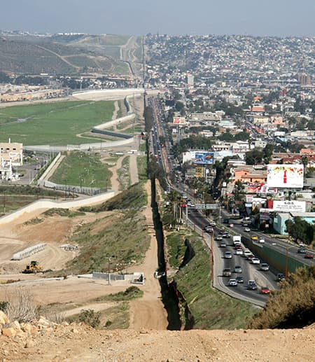 Mexico and U.S. border