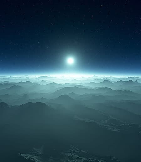 a small white star over white cloud-covered mountains