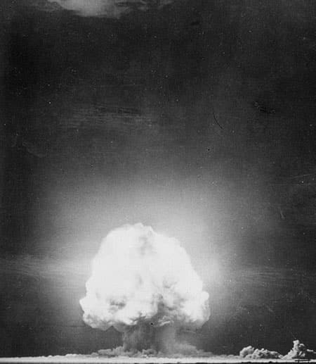 Trinity Test - Alamogordo, NM - July 16, 1945. Mushroom cloud after 10 seconds.