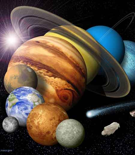 Artist's rendition of all the planets in the solar system next to each other