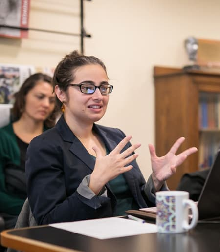 Seema Golestaneh, assistant professor of Near Eastern Studies, speaks during the Nov. 27 Listening to the Middle East session for BOCES K-12 teachers.