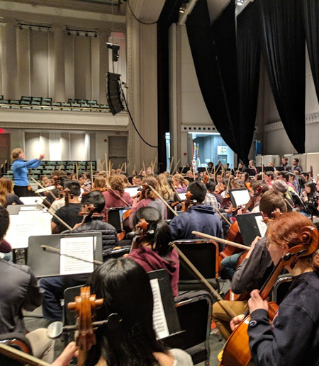 orchestra practicing