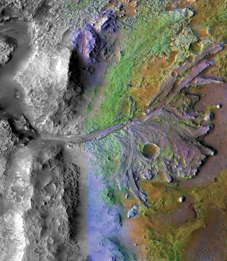 Multi-colored terrain on Mars, seen from above
