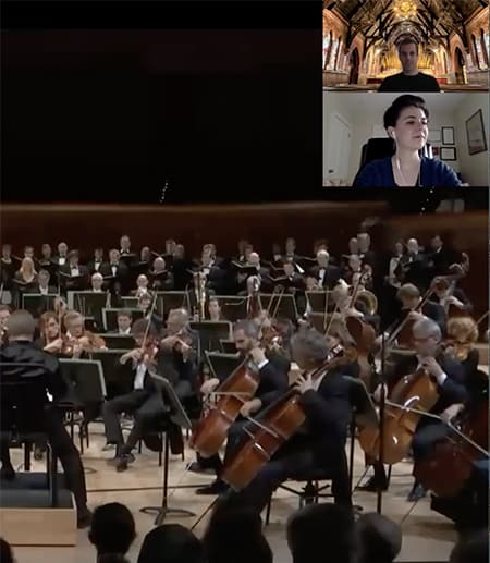 Zoom call with orchestra