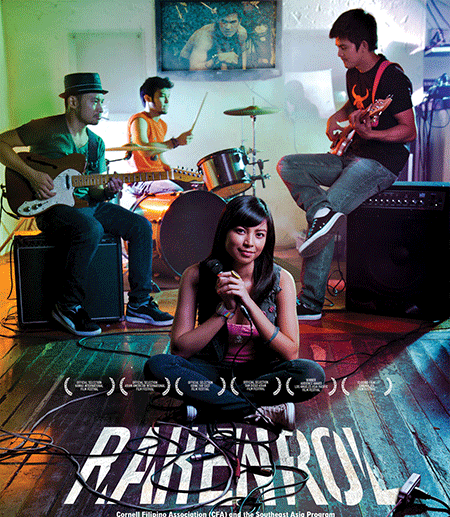Movie poster: person sits crossed legged with band playing behind