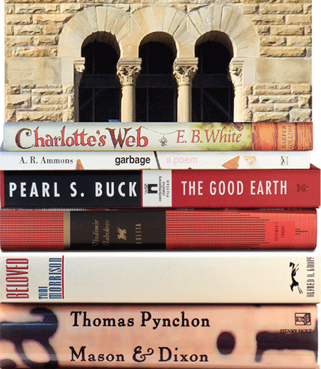 A stack of books by Cornell authors