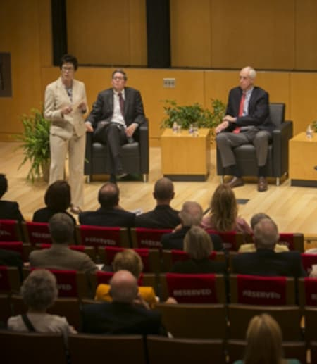Michael Klarman and Michael Dorf sitting on stage with Gretchen Ritter