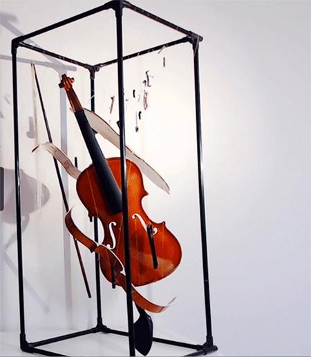 Violin in a three-dimensional frame