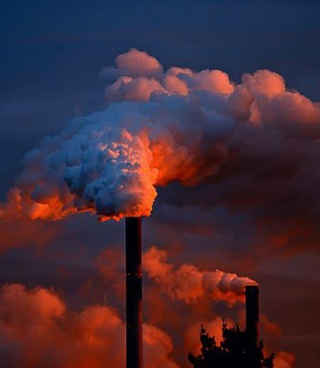 smokestack spewing pollution