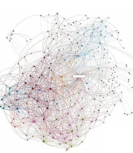 social network graphic of lines and dots