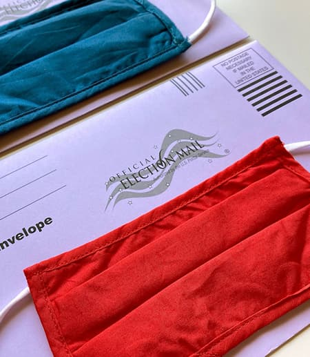 Mail in ballot envelop and face masks