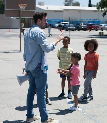Director working with children