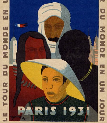 A 1931 poster showing a  man in a Chinese hat, an Arab in headdress, a Native American and an African
