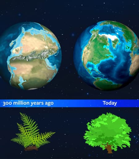 Graphic showing how the planet had a different light signature due to the dominance of moss.