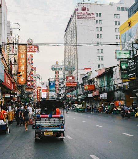 Mini-bus on a busy city street