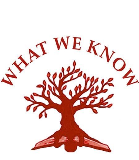 What We Know logo of a tree and book