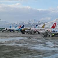 Planes in a row with snow-covered mountains behind them.