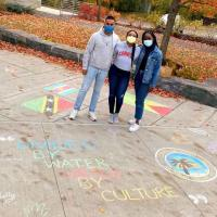 students on sidewalk