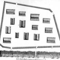 Pencil drawing of a fort, seen from above