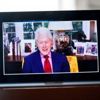 Face on computer screen of President Bill Clinton