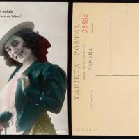Antique postcard featuring a smiling woman