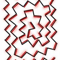 Drawing of a black and red zigzag line