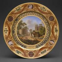 Porcelain plate painted with a landscape
