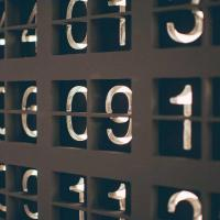 White digits set in a dark background