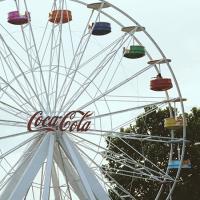 Ferris wheel with Coca-Cola logo in the center
