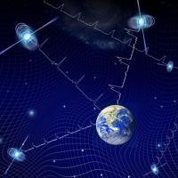 Illustration of Earth on dark blue background