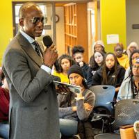 Yusef Salaam speaks to students