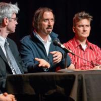 from left, Gerald Beasley, the Carl A. Kroch University Librarian; filmmaker Jason Schmitt, Jeremy Braddock, associate professor of English
