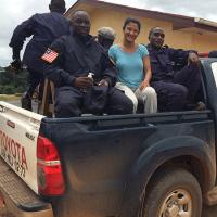 Sabrina Karim with Liberian police