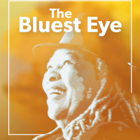 "Illustration featuring Toni Morrison and the text ""The Bluest Eye"""