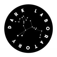 Logo: Black circle with white writing