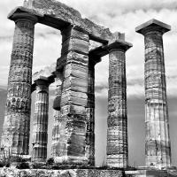 Roman columns still standing in an ancient ruin