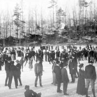 students skating on Bebe Lake