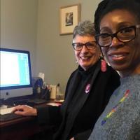 Lyrae van Clief-Stefanon and Sue Perlgut editing their video