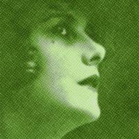 Green, old-fashioned image of Beatrice Fairfax