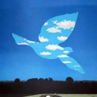 Abstract bird in sky