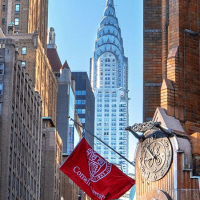 Cornell flag on a building in New York City