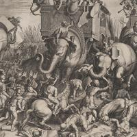 Painting of ancient battle with soldiers on elephants attacking soldiers on foot