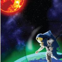 Red sun and exoplanet with a biofluorescent glow, with a person in a spacesuit hovering above