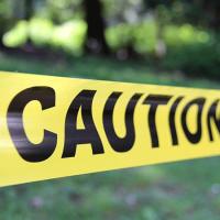 Yellow tape: Caution