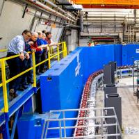 Representatives from Cornell, the Brookhaven National Laboratory and the New York State Energy Research Development Agency are shown during the CBETA test June 24 at Wilson Laboratory.