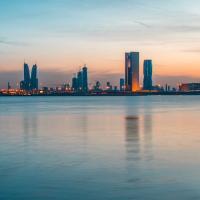 City skyline seen over water