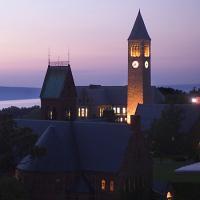 Clock tower at sunset
