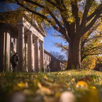 Fall scene on the Arts Quad