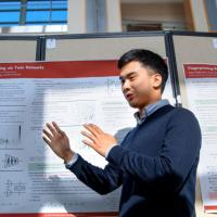 Eric Lei '20 presents research during the CURB Spring Symposium Forum May 2 in Duffield Hall.