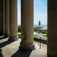 Image of campus from the columns outside Baker Lab